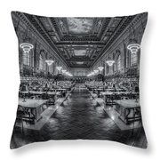 New York Public Library Main Reading Room Viii Throw Pillow