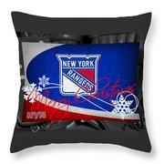 New York Rangers Christmas Throw Pillow