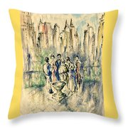 New York Roof Party - Watercolor Ink Throw Pillow