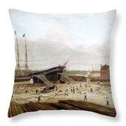 New York Shipyard, 1833 Throw Pillow