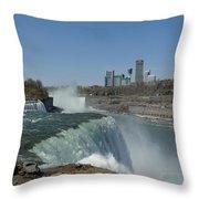 New York Side Of Niagara Falls Throw Pillow
