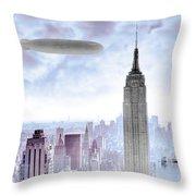 New York Skyline And Blimp Throw Pillow