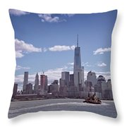 New York Skyline And Boat Throw Pillow
