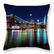 New York Skyline And Brooklyn Bridge With Crescent Moon Rising Throw Pillow