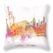 New York Skyline City Throw Pillow