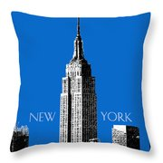 New York Skyline Empire State Building - Blue Throw Pillow