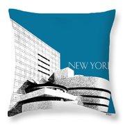 New York Skyline Guggenheim Art Museum - Steel Blue Throw Pillow by DB Artist