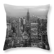 New York Skyline Panorama Bw Throw Pillow