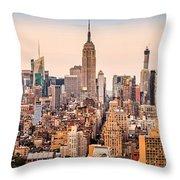 New York Skyline Panorama Throw Pillow
