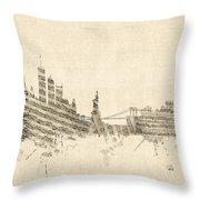 New York Skyline Sheet Music Cityscape Throw Pillow