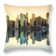 New York Skyline Sunset Throw Pillow