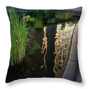New York Skyscrapers Reflecting In A Beautiful Little Fountain With Flowers Throw Pillow