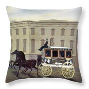 New York Stagecoach Throw Pillow