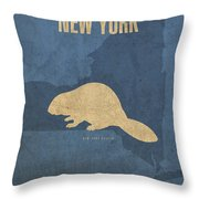 New York State Facts Minimalist Movie Poster Art  Throw Pillow