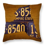 New York State License Plate Map - Empire State Orange Edition Throw Pillow