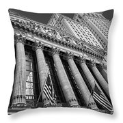 New York Stock Exchange Wall Street Nyse Bw Throw Pillow