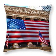 New York Stock Exchange With Us Flag Throw Pillow