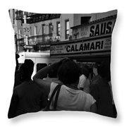 New York Street Fair - Black And White Throw Pillow
