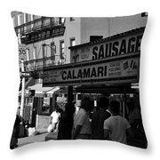 New York City Street Fair - Calamari Sausage - Black And White  Throw Pillow