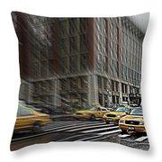 New York Taxi Abstract Throw Pillow
