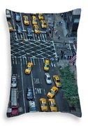 New York Taxi Rush Hour Throw Pillow