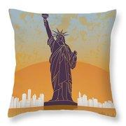 New York Vintage Poster Throw Pillow