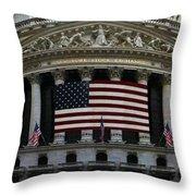 New York - Wall Street Panoramic Throw Pillow