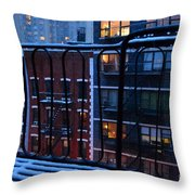 New York Window - Fire Escape In Winter Throw Pillow