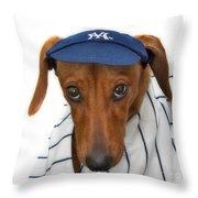 New York Yankee Hotdog Throw Pillow