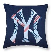 New York Yankees Baseball Team Vintage Logo Recycled Ny License Plate Art Throw Pillow