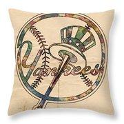 New York Yankees Poster Vintage Throw Pillow