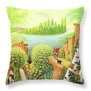 Green New York Throw Pillow