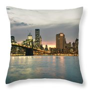 New York City - Brooklyn Bridge To Manhattan Bridge Panorama Throw Pillow