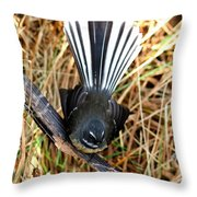 New Zealand Fantail Throw Pillow