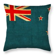 New Zealand Flag Vintage Distressed Finish Throw Pillow