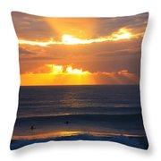 New Zealand Surfing Sunset Throw Pillow