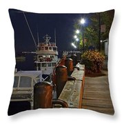 Newburyport Docks Full Moon Throw Pillow