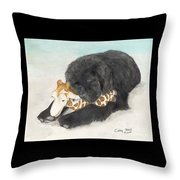 Newfoundland Dog In Snow Stuffed Animal Cathy Peek Art Throw Pillow