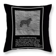 Newfoundland Dog Vintage Sketch Throw Pillow