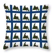 Newfoundland Tartan Map Blocks Blue Trim Throw Pillow