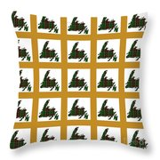 Newfoundland Tartan Map Blocks Gold Trim Throw Pillow