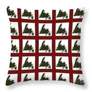 Newfoundland Tartan Map Blocks Red Trim Throw Pillow