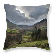 Newlands Valley Lake District National Park Throw Pillow