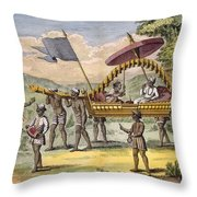 Newly Married Couple Being Taken Throw Pillow by Pierre Sonnerat