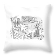 Newly-shorn Sheep Walk Out Of A Barn Throw Pillow