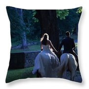 Newlyweds Ride Horseback Into The Sunset Throw Pillow