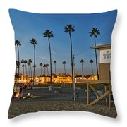 Newport Beach At Dusk Throw Pillow by Kelley King