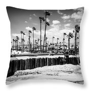 Newport Beach Dory Fishing Fleet Black And White Picture Throw Pillow by Paul Velgos
