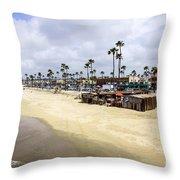 Newport Beach Oceanfront Businesses With Dory Fleet Throw Pillow by Paul Velgos