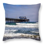 Newport Beach Pier In Orange County California Throw Pillow by Paul Velgos